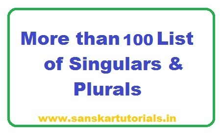 More than 100 List of Singulars Plurals