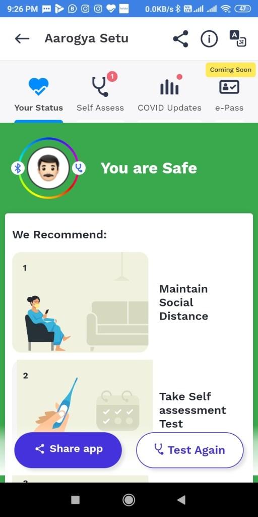 Screenshot 2020 04 15 21 26 30 364 nic.goi .aarogyasetu आरोग्य सेतु Apps कोरोना वायरस Surksha Kavach