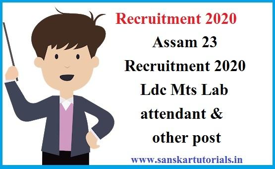 Assam 23 Recruitment 2020 Ldc Mts Lab attendant & other post