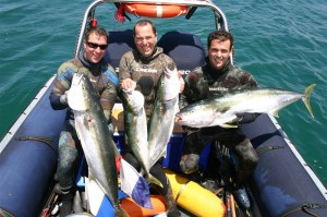 Cohan Jones 13 kg, David Rogers 5 kg & Paul Scimone 12 kg Yellowtail Kingfish at South West Rocks 2013