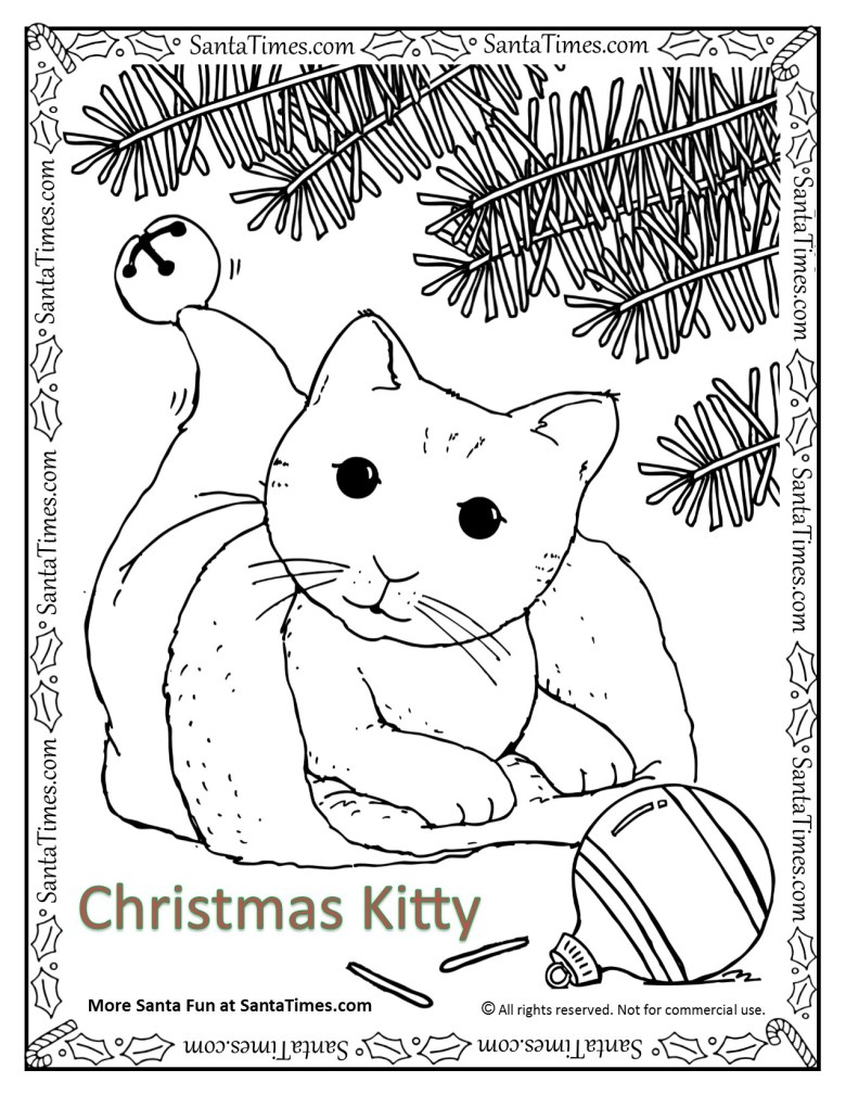 christmas kitty coloring page