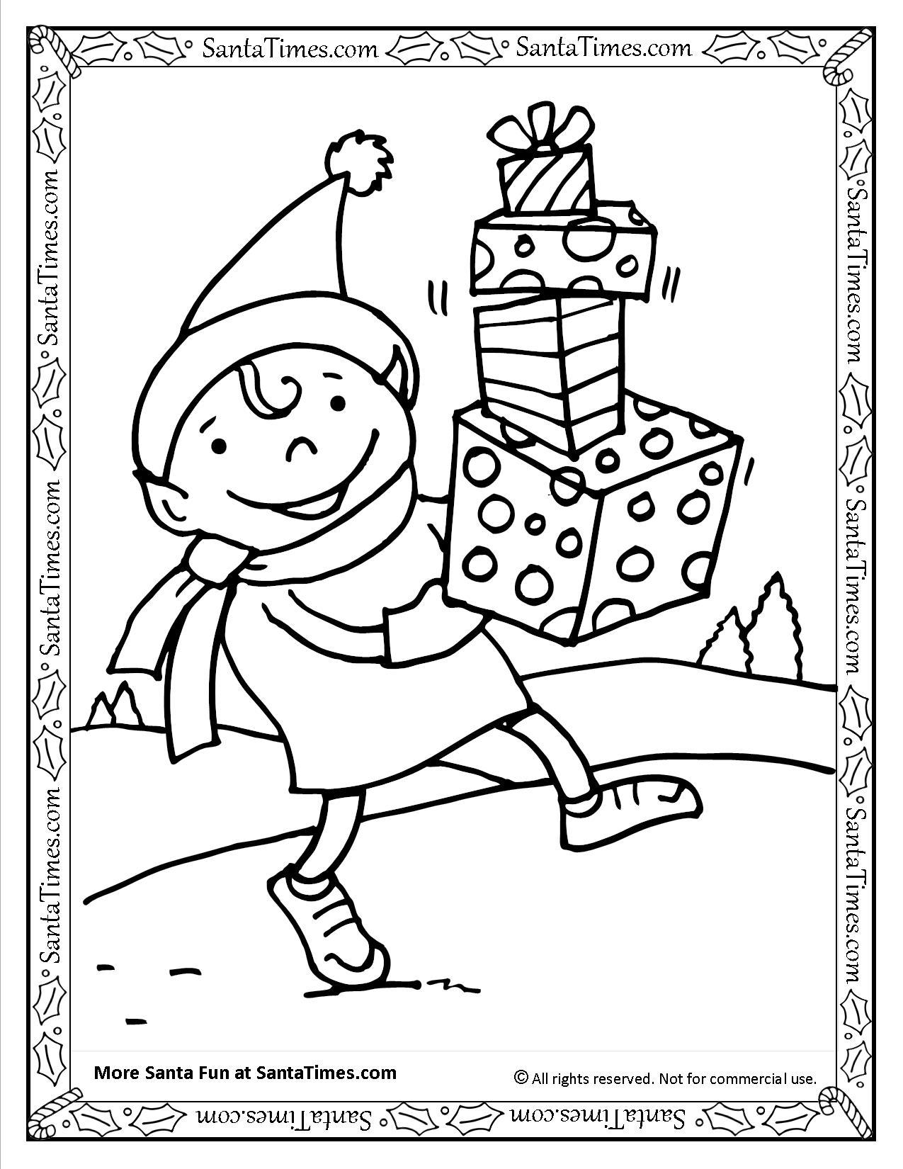 Santa S Elf Printable Coloring Page