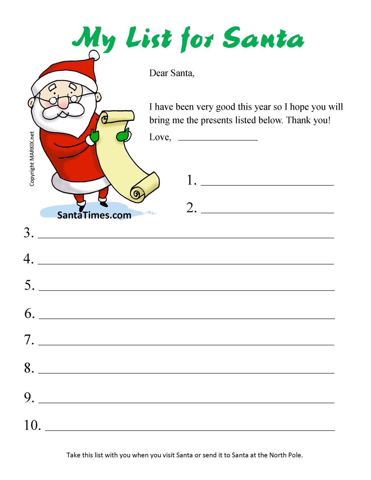 Print Your Christmas Wish List For Santa