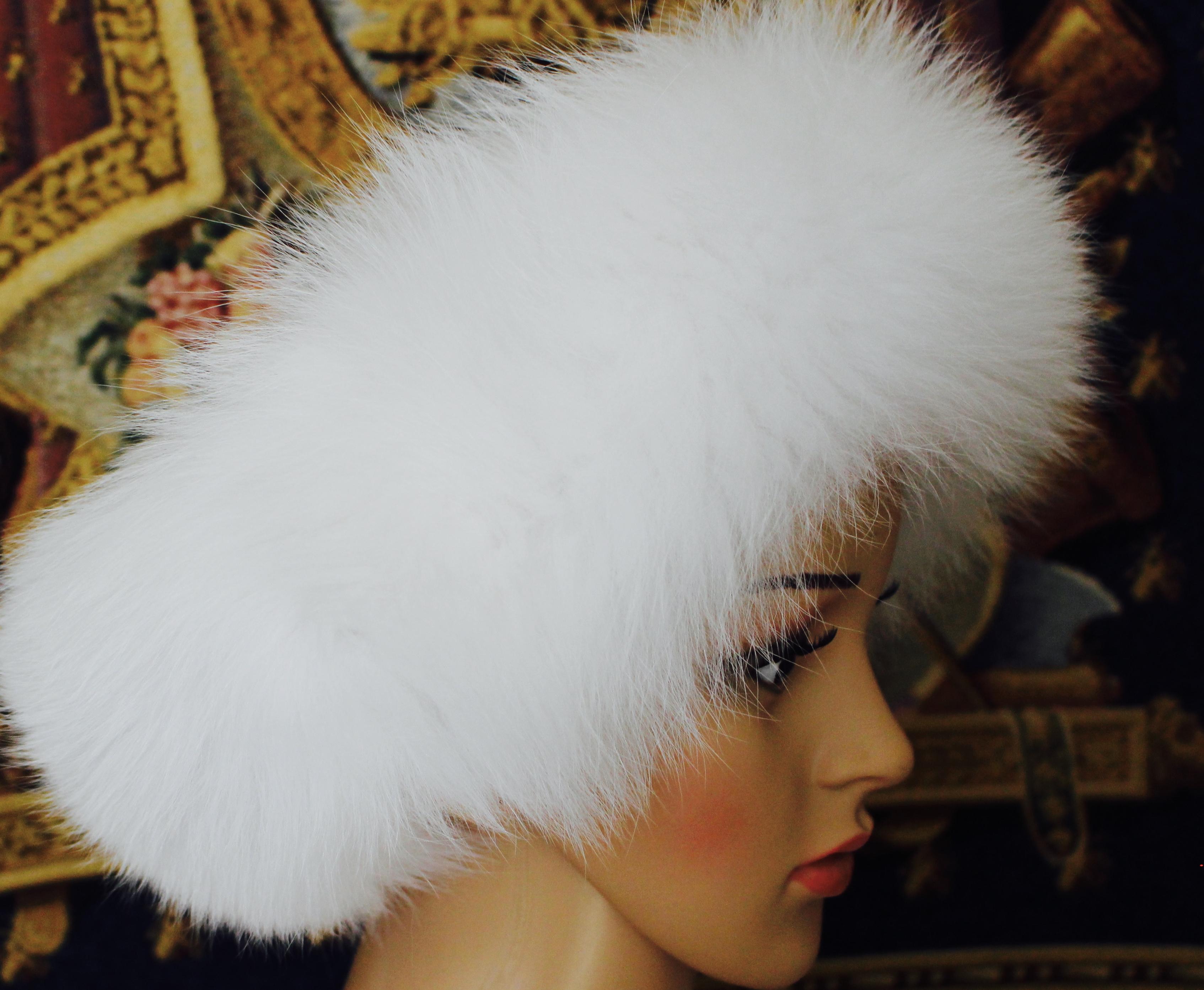 White Fox Fur Head Band for Santa Hat or Mrs Claus  Santa