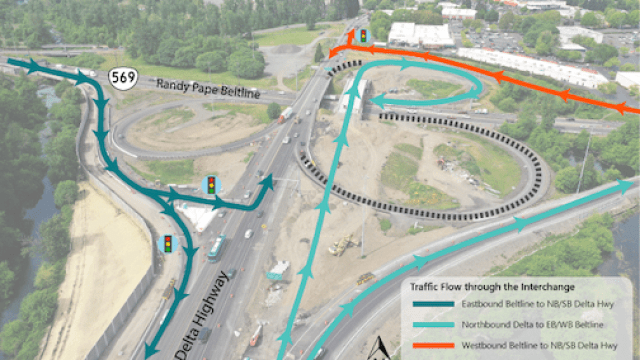 aerial photo of new traffic pattern at new light on Delta highway