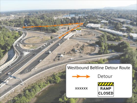 Temporary Beltline Delta detour July 2021