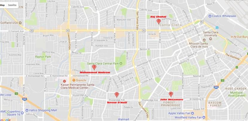 Mercury News 2016 Santa Clara Candidates Map