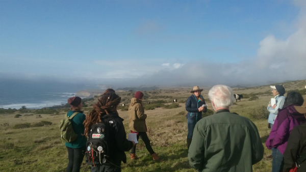 Group standing on a grassy hill in a circle facing the Pacific Ocean in the distance. Doniga Markegard is speaking to the group. There are cows in the distance.