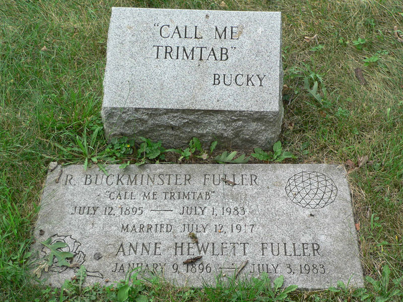 """Buckminster Fuller grave showing """"call me a trim tab"""" inscription - permaculture designers can be a trim tab in their permaculture work."""