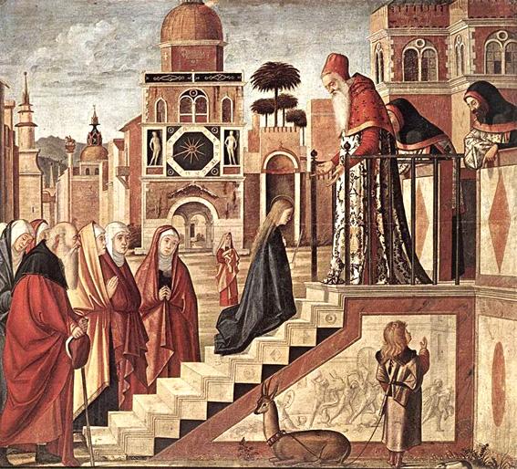 Presentacion de la Virgen en el Templo de Scarpazza - (Vittore Carpaccio) 1502-08, Pinacoteca de Brera, Milán.