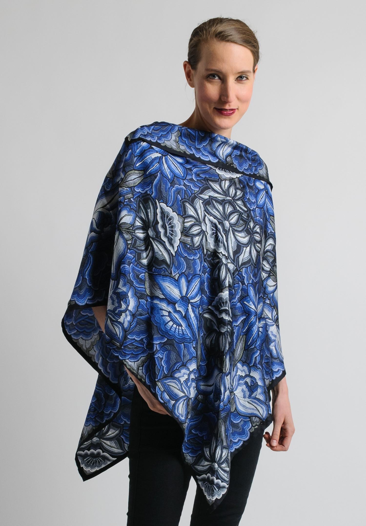 Pineda Covalin Istmo Silk Poncho in Blue and Black  Santa