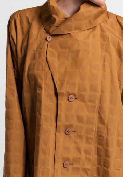 Issey Miyake Long Crumpled Grid Jacket in Copper  Santa