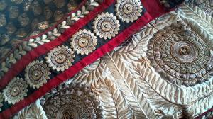 Beautiful designs bedeck the edge of sari's often used in Susan Soderberg's gorgeous Southwestern Remakes