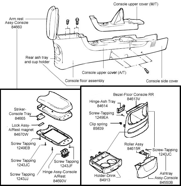 Service manual [1998 Hyundai Elantra Center Console Lid