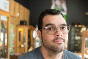 """Aaron Franklin wears """"Shining,"""" a vintage frame by RetroSpecs & Co."""