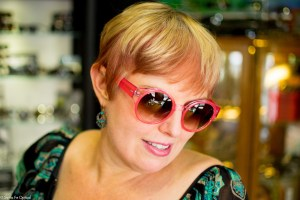 Sharon in pink sunglasses by Barton Perreira.