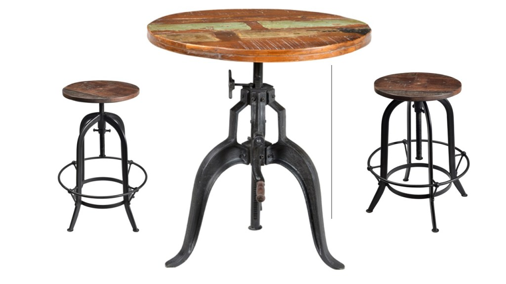 Cornwall Iron Base Round Dining/Pub Table (Adjustable Height)