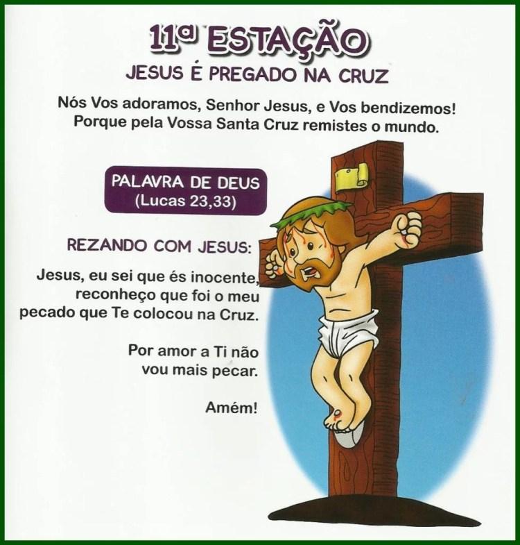 Via Sacra Infantil - 11ª Estação: Jesus é pregado na cruz