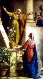 Alegria de Isabel ao ver Nossa Senhora que lhe visita.