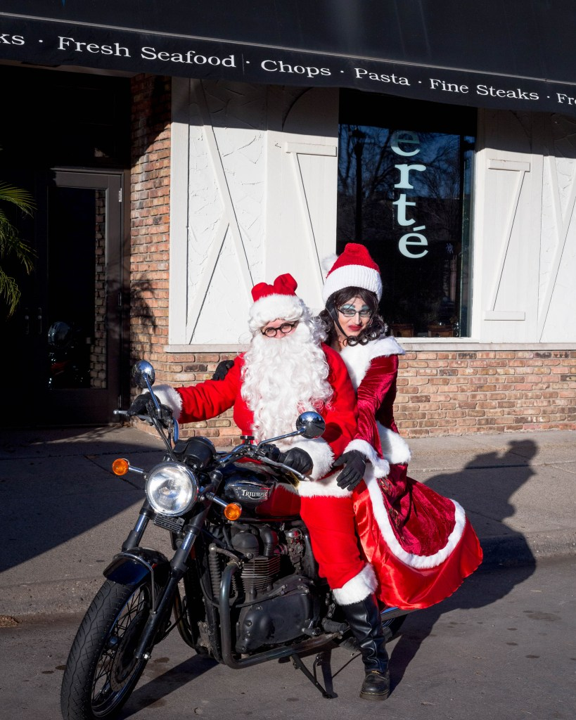 santalawyer and mrs. claus on the trusty triumph
