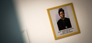 Picture of St Josephine Bakhita on a wall