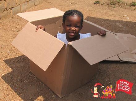 Little girl in carton