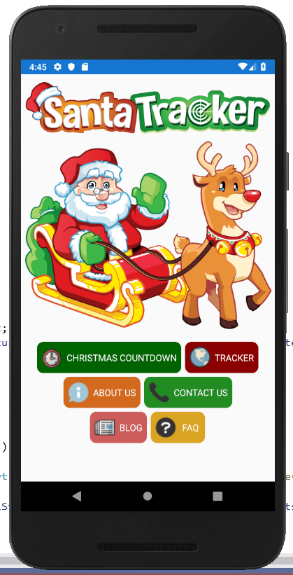 SantaTracker.net Home screen