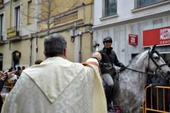 Mossèn Antoni Fernández va beneir els animals que participaven als Tres Tombs // Maria Rubio