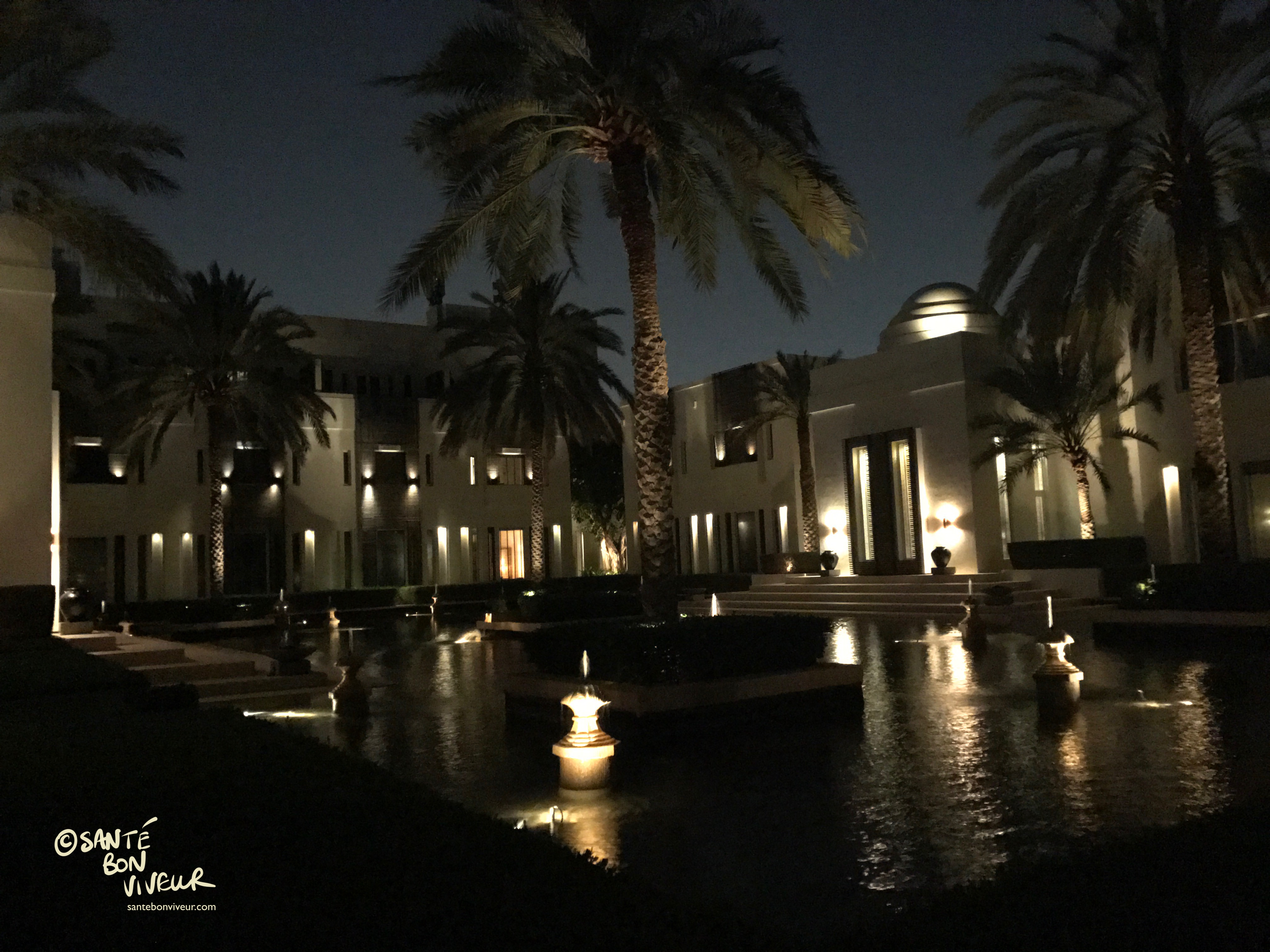 Chedi Hotel grounds at night