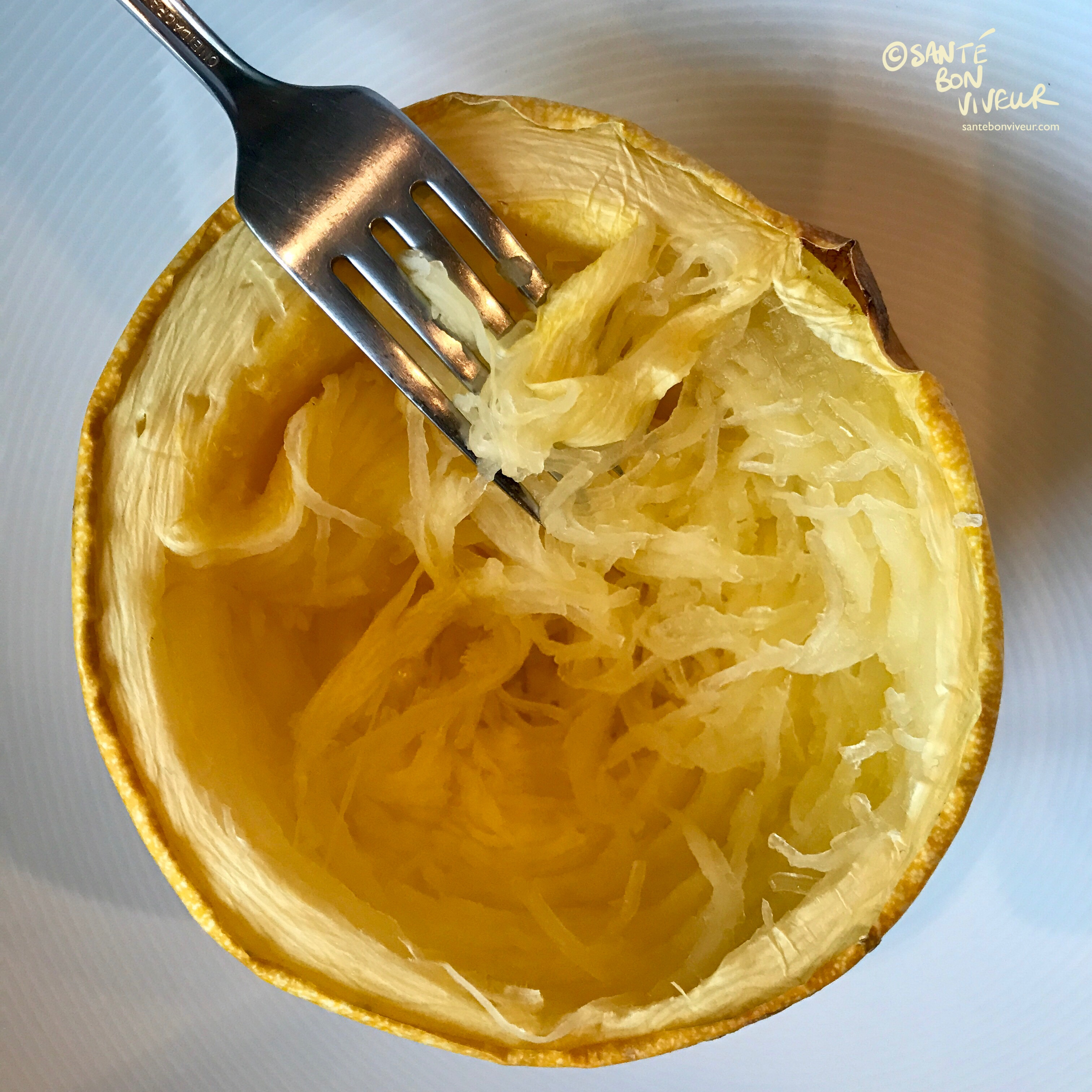 Simply pull at Spaghetti Squash with a fork to release the noodle-like strands