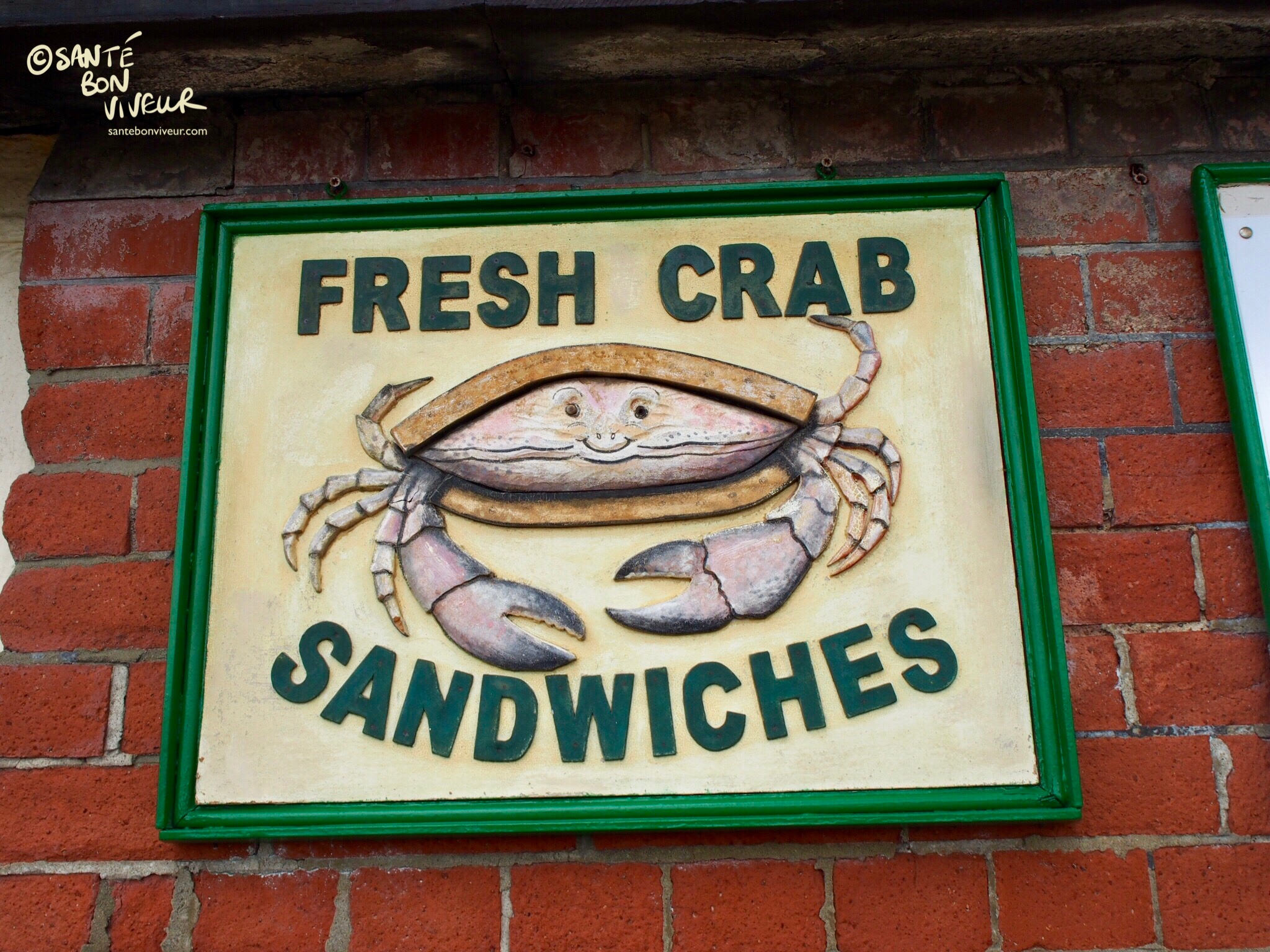 Fresh crab sandwiches for sale in Brighton's King's Road Arches at Jack & Linda Mills Traditional Fish Smokers
