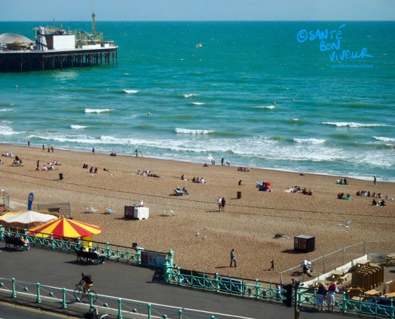 View of Brighton Beach and the Palace Pier from the Old Ship Hotel