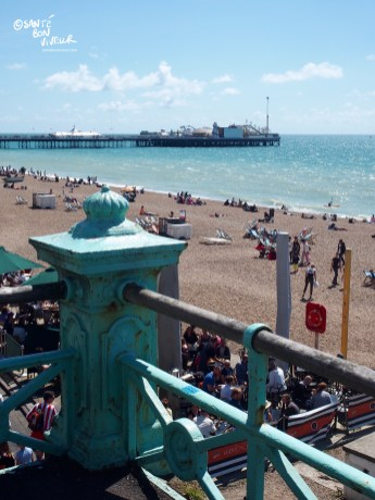 Brighton Beach viewed from the Upper Promenade, looking towards the Palace Pier