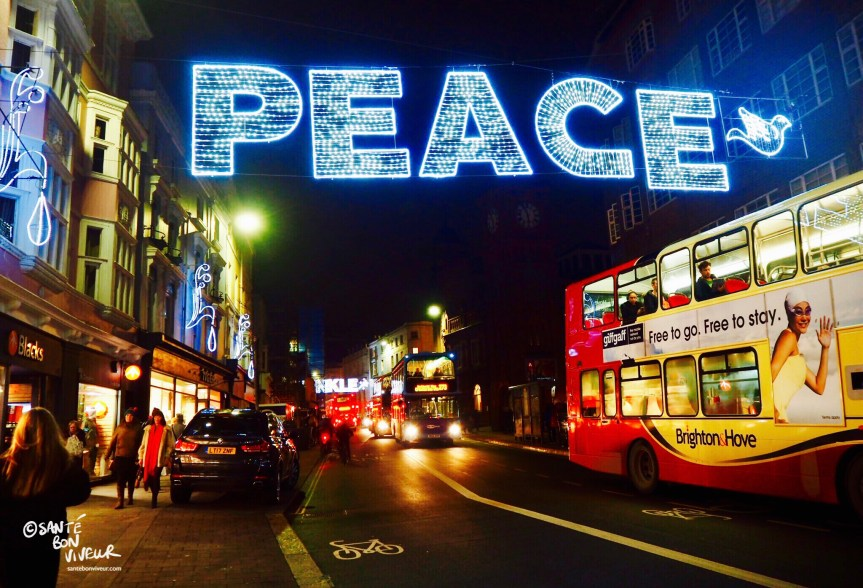Peace + Dove +Buses, Christmas Lights, Brighton, England, UK, 2017