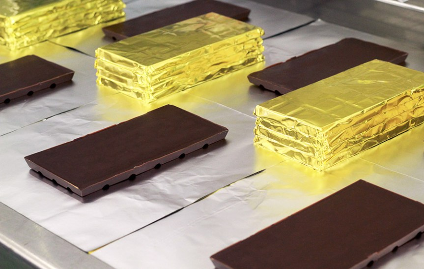 Mayhawk Chocolate being wrapped