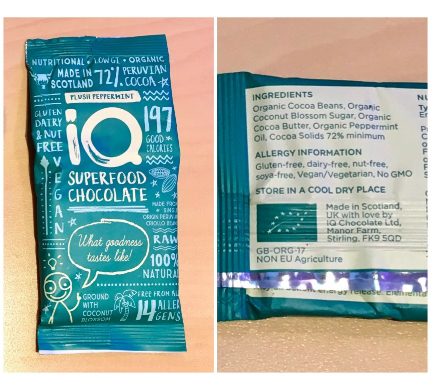 IQ 'superfood' chocolate made in Scotland, UK, has coconut blossom sugar ground into it instead of cane sugar. Ingredients in chocolate