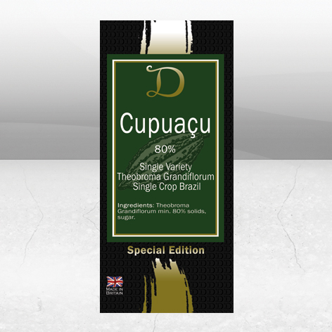 DemarquetteFine Chocolate's Cupuaçu 80% Special edition Theobroma Grandiflorum Brazil bar. Unusual cocoa beans