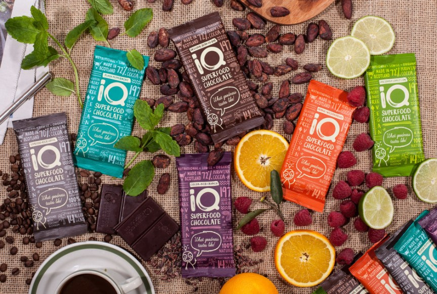 IQ Chocolate's range of raw chocolate bars.