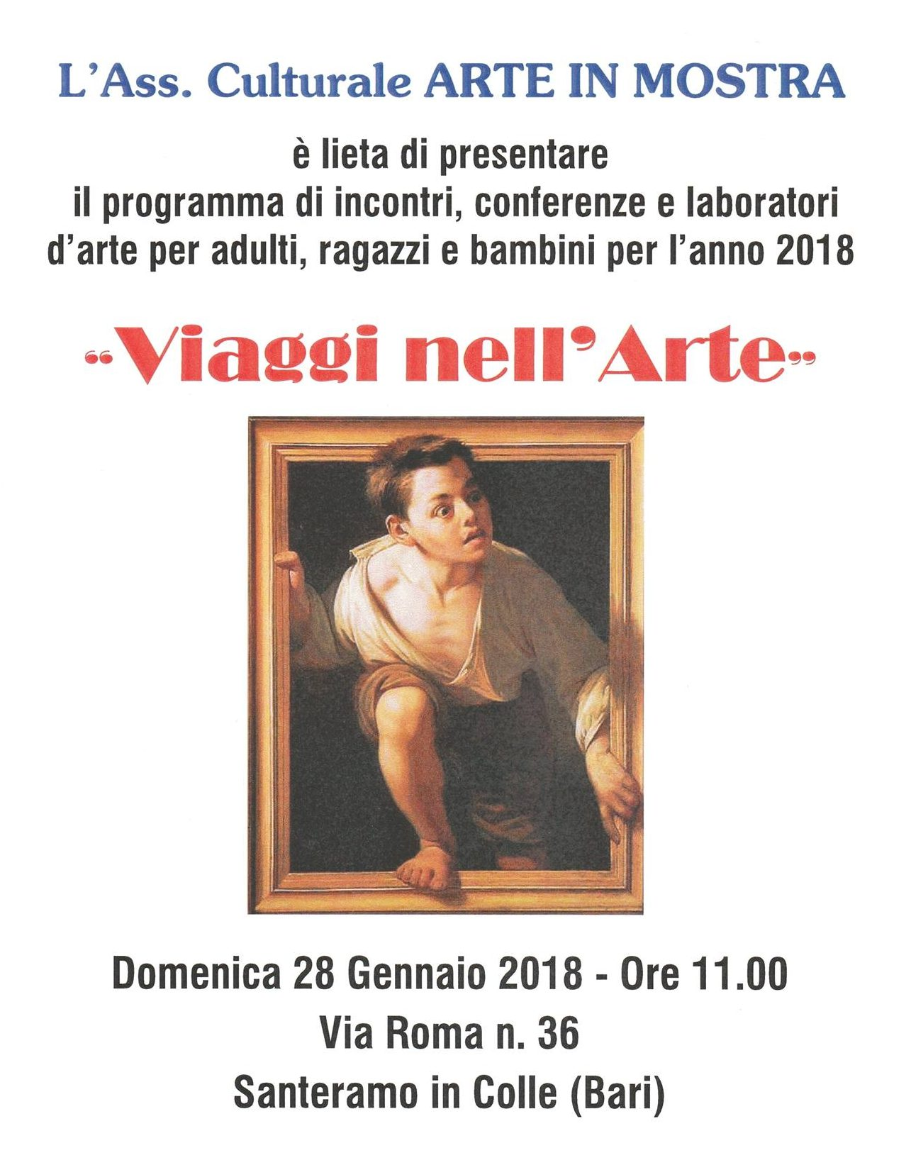 Viaggi nell'Arte, il programma 2018 degli incontri