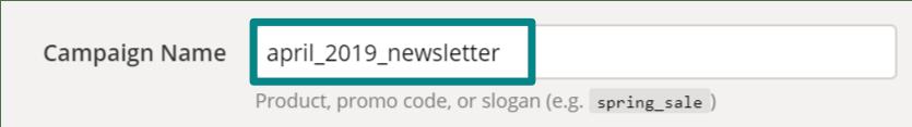 Kampanjan nimi täytettynä URL Builderin kenttään