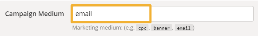 Kampanjan tulotapa täytettynä URL Builderin kenttään