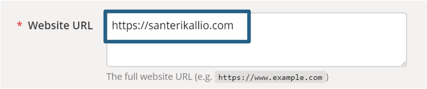 URL-osoite täytettynä URL Builderin kenttään