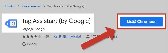 Lisää Tag Assistant Chromeen