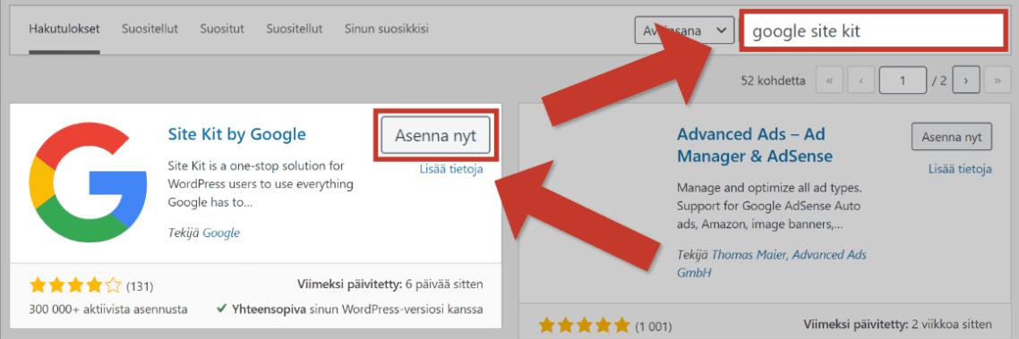 Asenna Google Site Kit