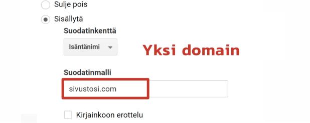 Yhden domainin suodattaminen