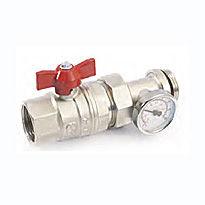 GF Кран шаровый 1″ с термометром красн/бантик (Италия)
