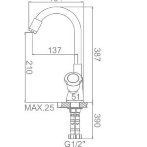 Ledeme L4022-6 Кухня с силикон/нос (синий)