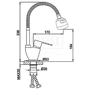 Frap F-41993 (кухня) боковая сатин гибкий нос SUS 304 (10)