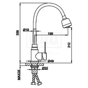 Frap F-46993 (кухня) боковая сатин гибкий нос SUS 304 (10)