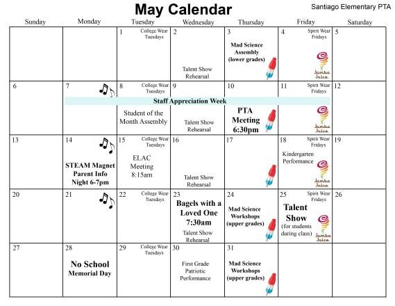 Svusd Calendar.May Calendar Santiago Steam Pta